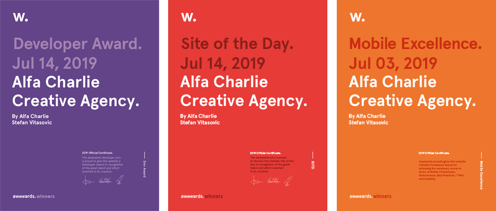Alfa Charlie Creative Agency Wins Site of Day on Awwwwards